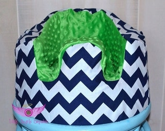 Navy Chevron and Green Bumbo Seat Cover
