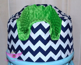 Navy Chevron and Green Minky Bumbo Seat Cover