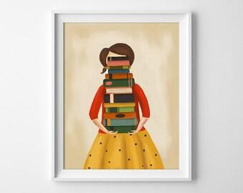 Book Lover Art - Book Lover Print - Reading Illustraton - Reading Art Print - Library Art Print