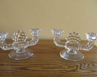 Fostoria American Double Candle Holders