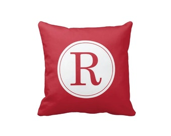Custom Monogram Initial Throw Pillow & Cover-Brick Red and White OR Customize with ANY Colors-14x14-16x16-18x18-20x20-14x20-26x26