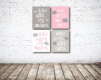 You Are My Sunshine CANVAS Set of Four-Light Pink-White-Grey OR Choose Color-8x10-11x14-12x18-16x20-18x24-20x30-24x36-Nursery-Kids Room