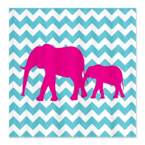 Chevron Elephant Shower Curtain Aqua Hot Pink White OR