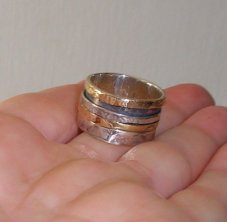 Spinning ring Band ring Wedding ring hand made of Sterling silver and gold