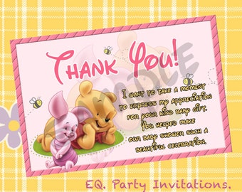Winnie the pooh Baby shower Thank You card!!  Instant download!