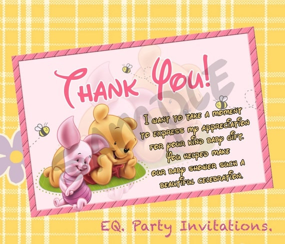Thank You Quotes For Baby Gift: Items Similar To Winnie The Pooh Baby Shower Thank You