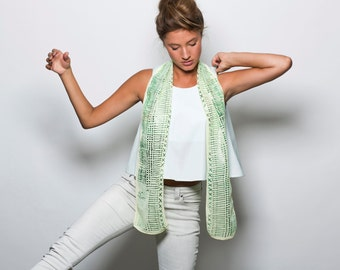 Summer collection, hand printed scarf, Yellow, Green and Silver, an original design by Dikla Levsky