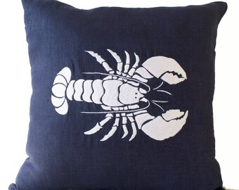 Linen Pillow, Navy White Pillow Cover, Lobster Throw Pillow, Sea Life Pillow, Lobster Pillowcase, Oceanic pillow, 16x16 Gift, Chair Cushion