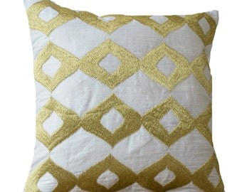 Gold Pillows- White Silk Gold Ikat Embroidered Pillow- White Gold Pillow- Silk Pillow- 16x16- Couch Pillow- White Cushion- Gift- Ikat Pillow