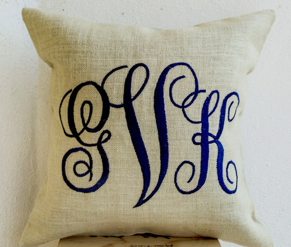 Decorative Pillows With Monogram : Monogram Decorative Pillow Personalized Father Mother Day Gift