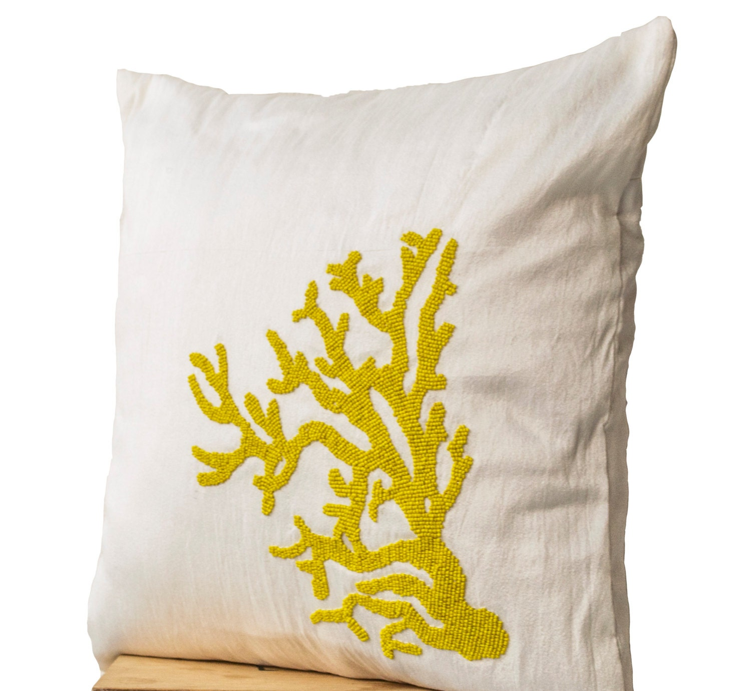 Throw Pillows With Coral : Decorative pillow with yellow coral on ivory white by AmoreBeaute