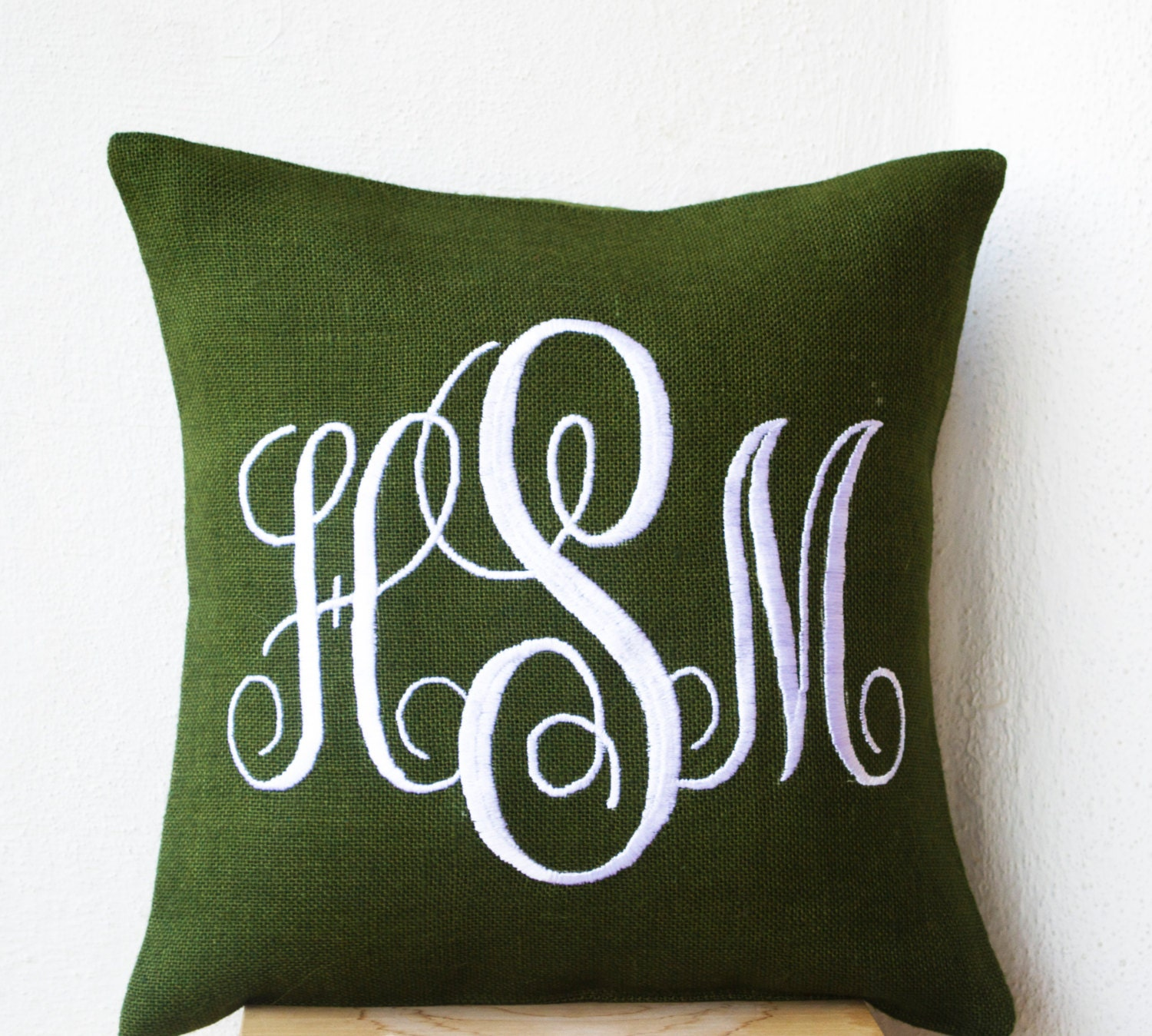 Decorative Monogram Pillow : Green Burlap Monogram Pillow Cover Custom Monogram Pillow