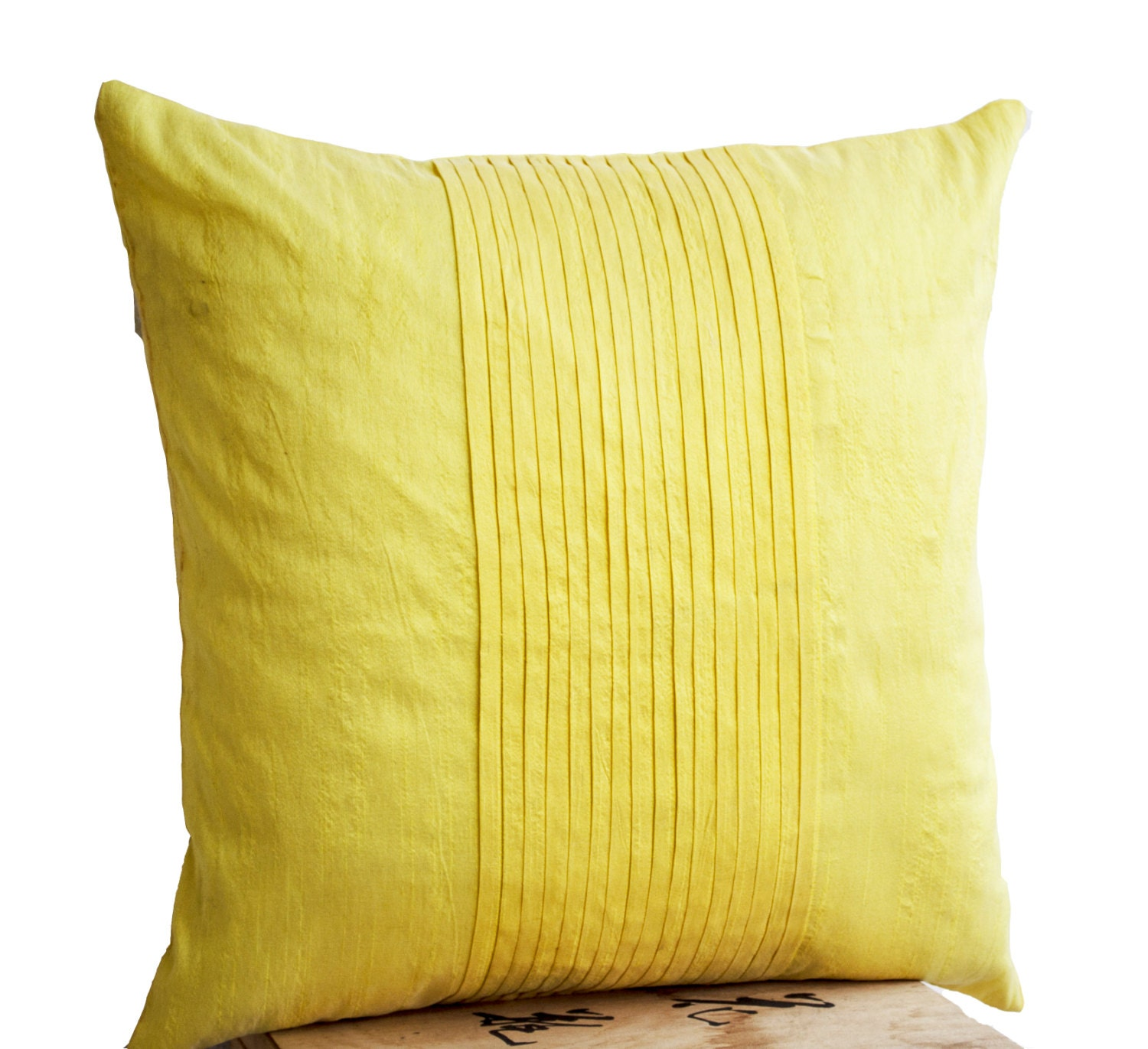 Throw pillows in yellow art silk Attractive cushion in