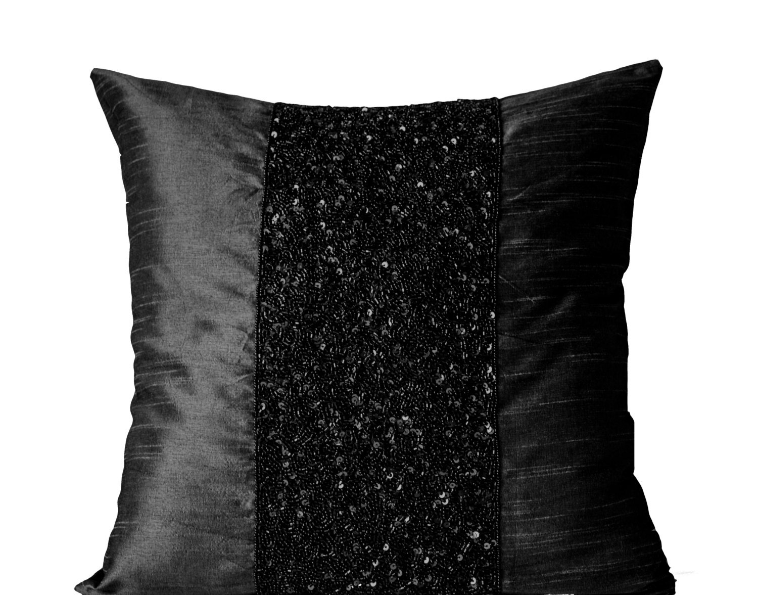 Black Beaded Pillows Black Silk Pillows  Black Metallic Sparkle Pillow  Black Beads Embroidered