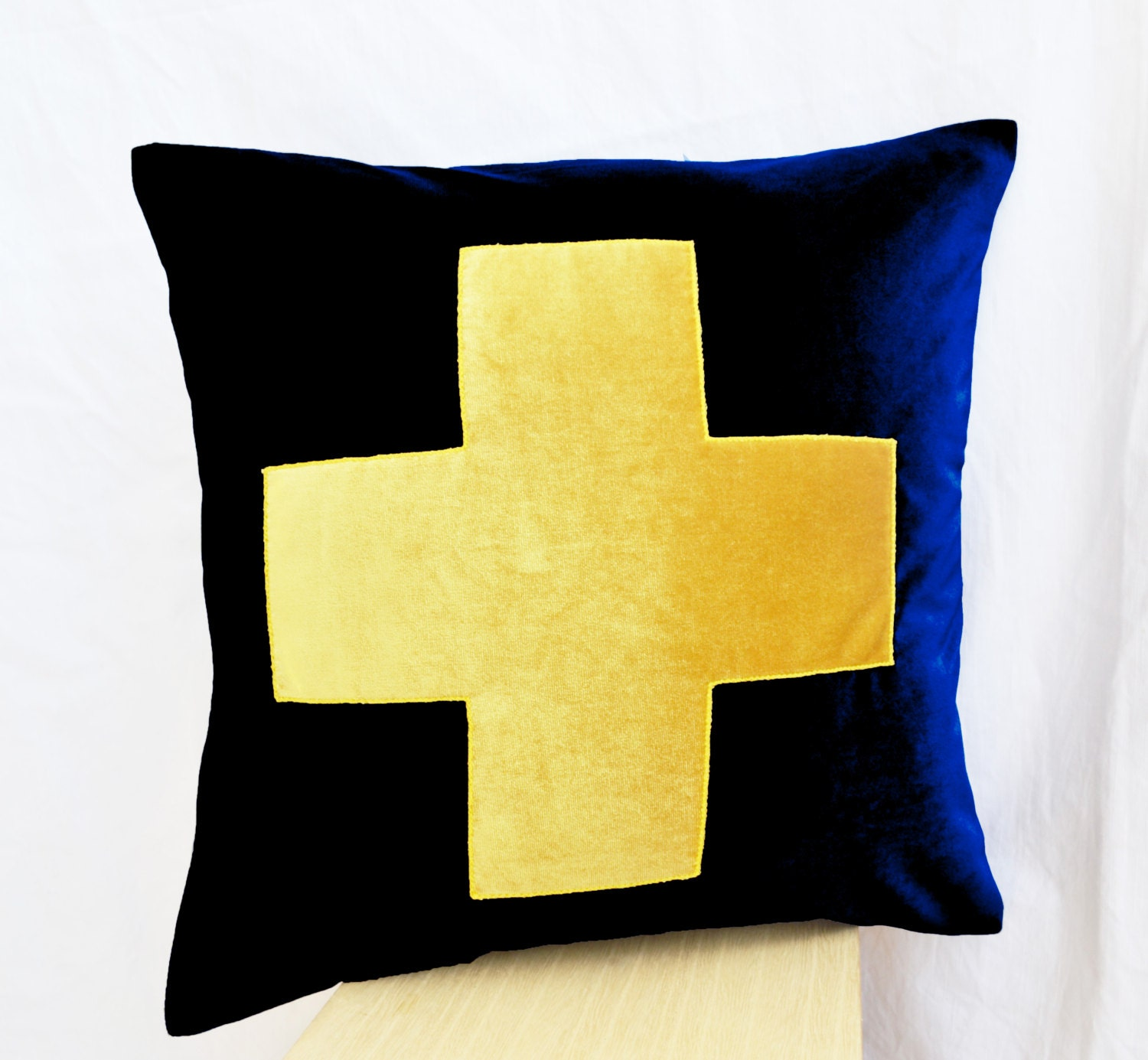 Navy Blue Yellow Velvet Pillow Cover Navy Throw Pillow Cases