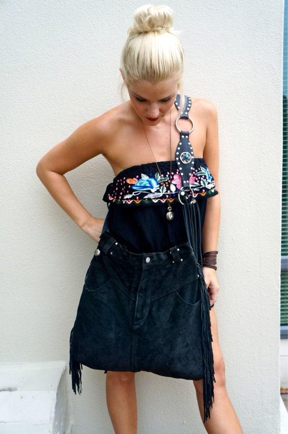 THE JAX Black Suede Fringe Miniskirt Handbag