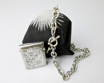 "1901 Victorian Match Safe, Vesta Box Pendant w. 18"" Chain, Hand Engraved, Hallmarked Robert Pringle & Sons, Chester UK."