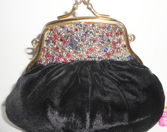 Black Velvet Evening Bag Beaded Vintage Handbag Glamorous Handbag EB-0084