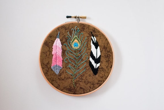 Hand Embroidered Feathers Hoop Art