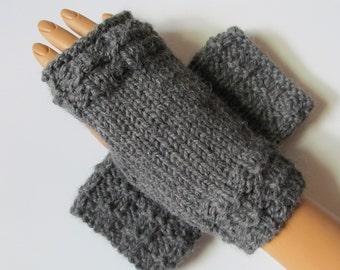 Salt and Pepper Gray Alpaca Blend Fingerless Texting Mittens, Handwarmers, Hand Warmers, Gloves, Handmade