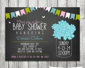 Chalkboard Gender Neutral Shower - Pink, Blue, Green - Baby Shower Invitation - Mason Jar Invite - Printable 5x7 JPG