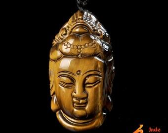 natural  Yellow tiger eye   jade stone laughing Buddha head carved  pendant