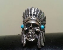 Large indian chief skull ring tribal sterling silver gothic punk