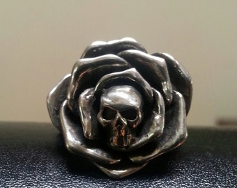 RESERVED Cool sterling silver Skull rose ring alternative steampunk gothic art nouveau victorian punk