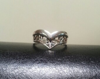 sterling silver filegree scroll ring alternative steampunk gothic art nouveau victorian
