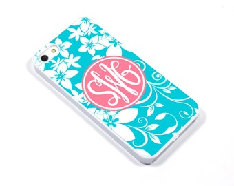 iPhone 5/5s iPhone 5c iPhone 6/6plus Samsung Galaxy S3 S4 S5 iPod touch 4th/5th Gen - Monogram tropical flower turquoise pink - p13