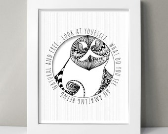 """Owl Art Inspirational Drawing / Mixed Media Typography Art Print - """" Amazing Being """" - 8x10 Home Wall Art"""