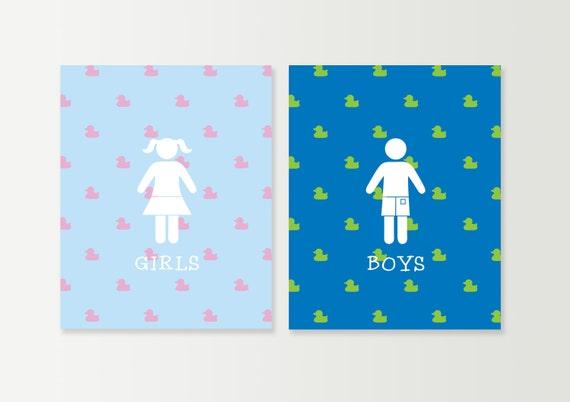Kids bathroom wall art kids bath decor by daphnegraphics for Bathroom decor etsy
