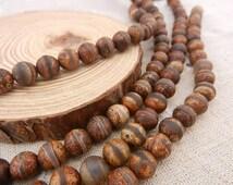 "1 strand 16"" 8mm Brown Fire Agate Semi-precious Gemstone Beads For Bracelet Making"
