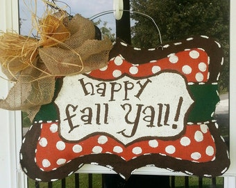 Burlap Happy Fall Yall door hanger