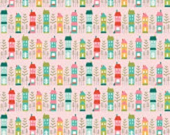 Half Yard Deena Rutter's 'So Happy' by Riley Blake Designs- Pink Main, Little House Fabric, Sewing Supplies