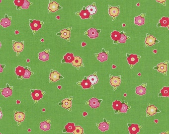 Pam Kitty Morning- 'Tiny Floral' Green by Lakehouse Dry Goods, Pam Kitty Coordinates, Quilting Fabric