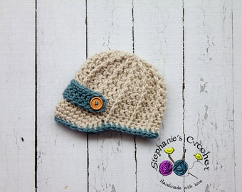 Crochet boy newsboy hat visor brim hat crochet Newborn photo props photography boy-Made to order