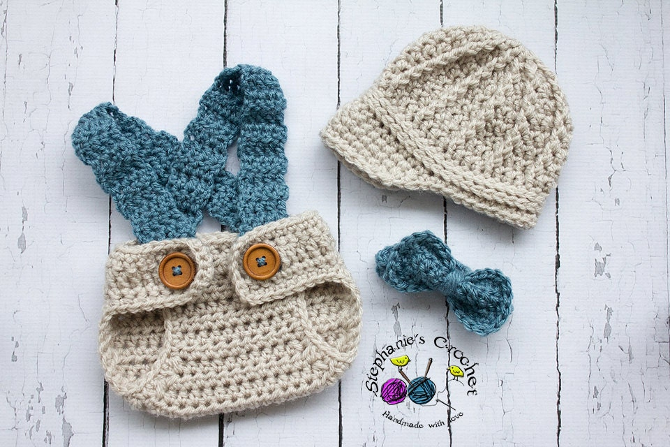Crochet Newborn hat baby boy hat newsboy hat set with bow tie