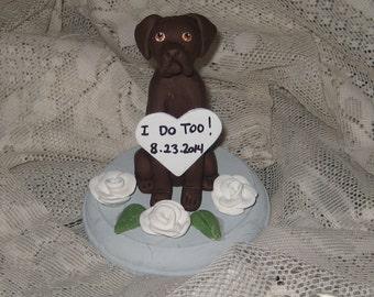 Single Labrador / Chocolate Lab/ Dog Wedding Cake Topper/ single dog sculpture with base/custom colors/custom design. ANY BREED