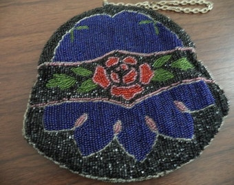 Old Blue Beaded Purse