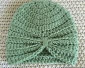 Newborn/preemie turban in green