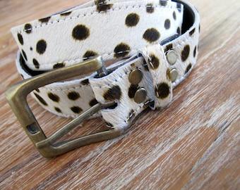 Ladies Belt - Leather Cowhide belt, Fur belt - Leather Belt with Brass Buckle
