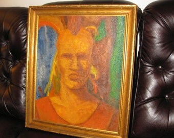 """ANTIQUE OIL PAINTING-Original Painting On Board Mohawk Indian Goldtone Wood Frame 21 1/4"""" X 25"""" Original Sticker From Plohn & Co. N Y C"""