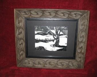 """FRAMED SCRATCHBOARD ART Signed Ranger 17"""" X 19 3/4"""" Winter Scene"""