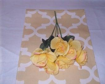 Handmade 13W x 60L  Table Runner, in Saffron Yellow/White Print, Nursery, Home Decor