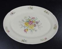 """Large 15"""" Oval Serving Platter, Crooksville Floral Symphony Vintage c.1930"""