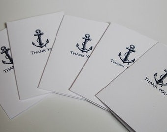 Blue Anchor Thank You Note Cards Stationery Set of Ten, Nautical Wedding Thank You Notes, Anchor Stationery
