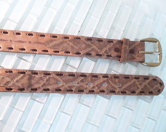 Tony Lama Leather Belt Wide 34 Cowboy