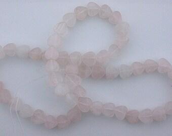 8mm gemstone flat heart  rose quartz beads