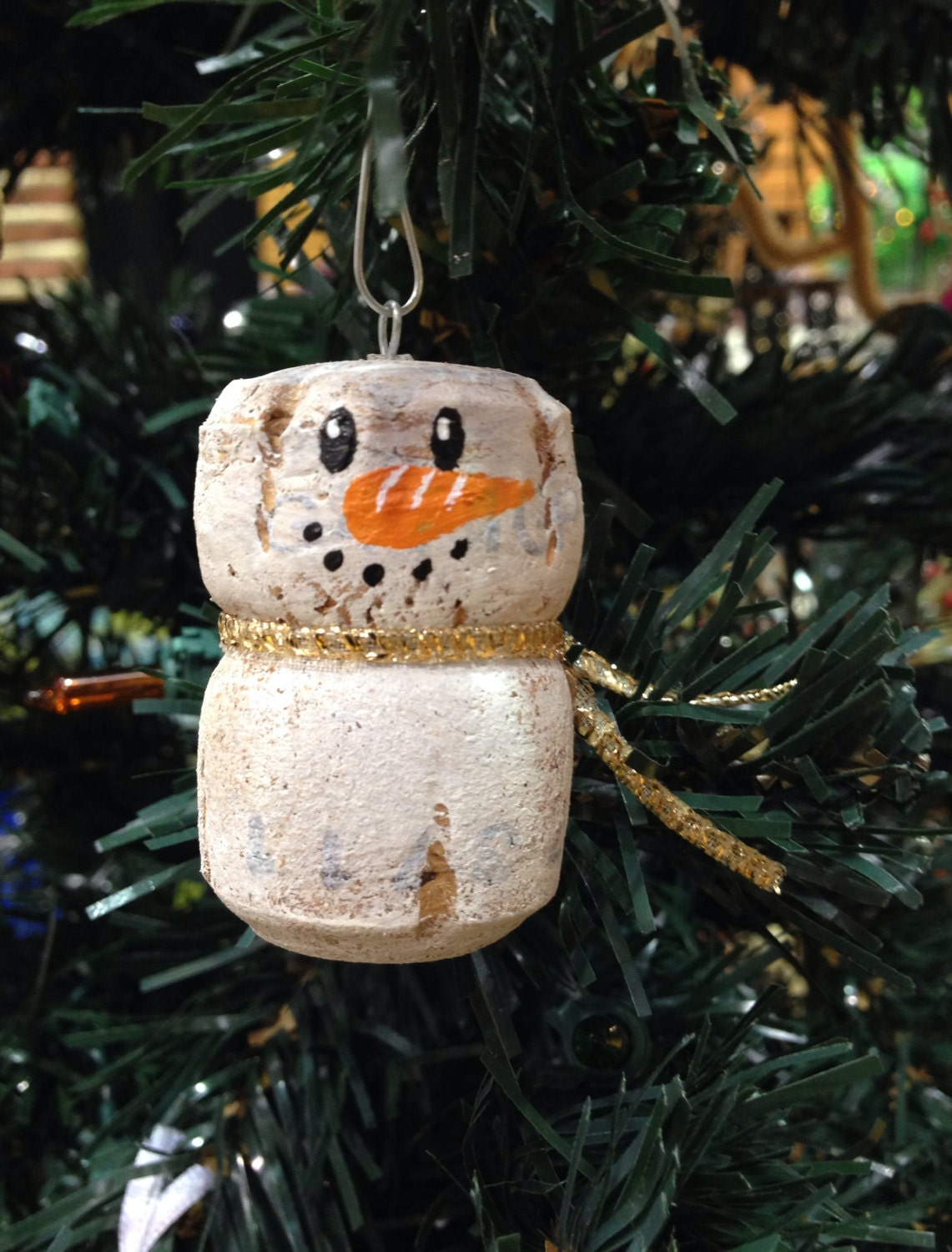 snowman ornament made from recycled corks